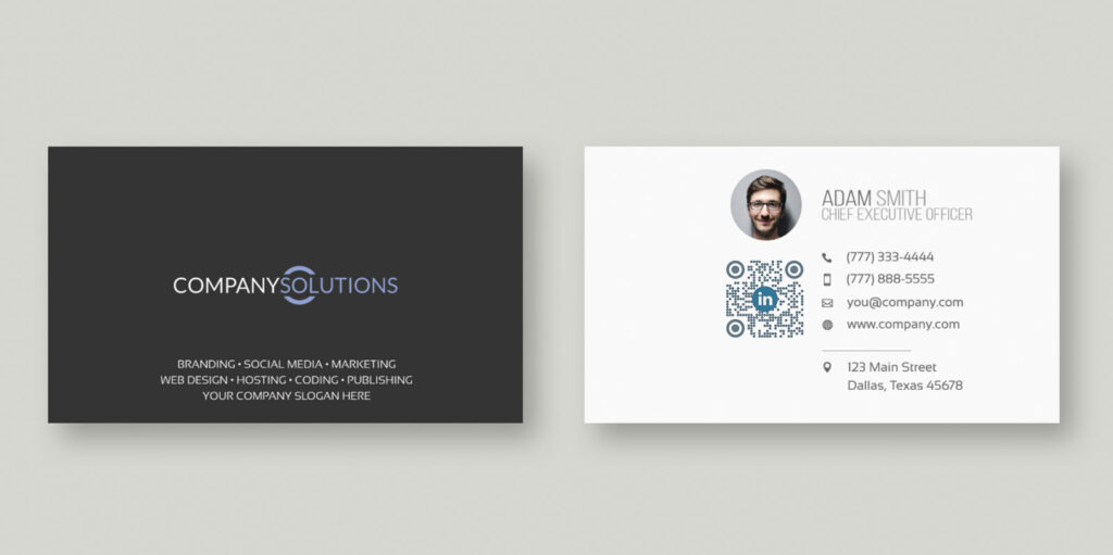 Examples of QR Codes on business cards