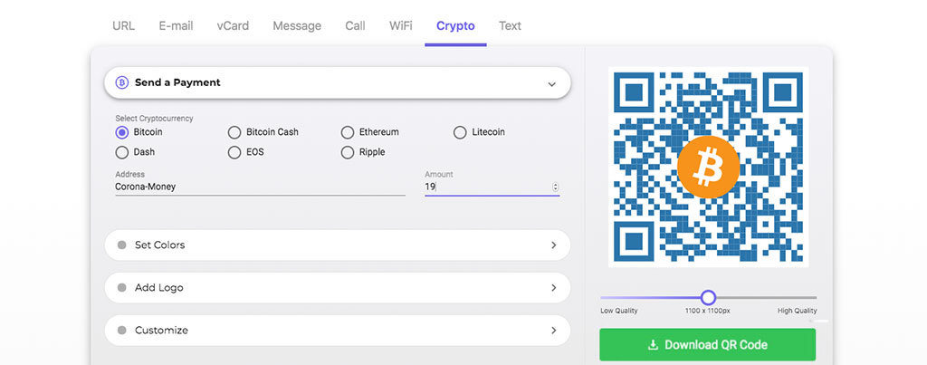 Bitcoin QR Code Generator COVID-19 2020