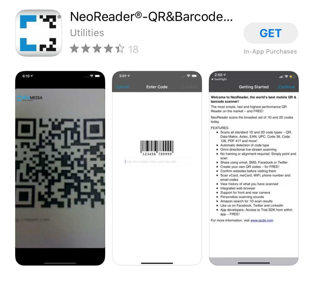 Aplicație NeoReader-QR-Code-Barcode-Reader