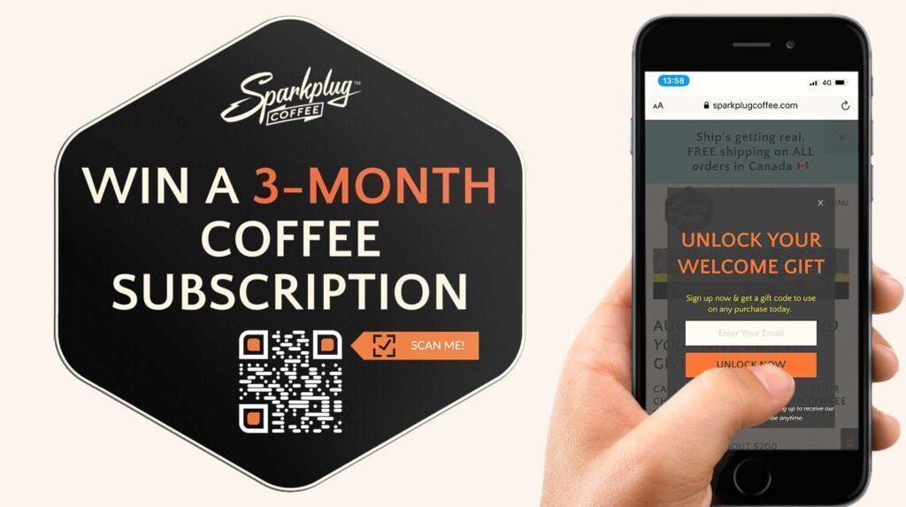 QR Code Generator voor Giveaway Competition Coffee