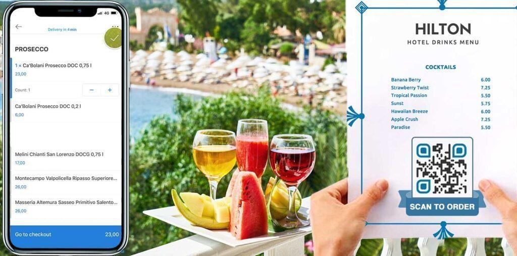 Hotelli kuurordi virtuaalse joogi menüü QR-kood
