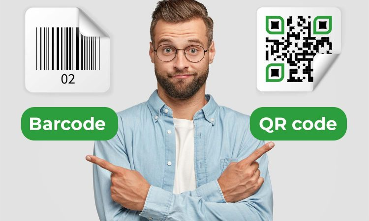 Man thinking which one to choose: Barcode or QR code